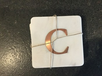 Marble/Copper Coaster Set