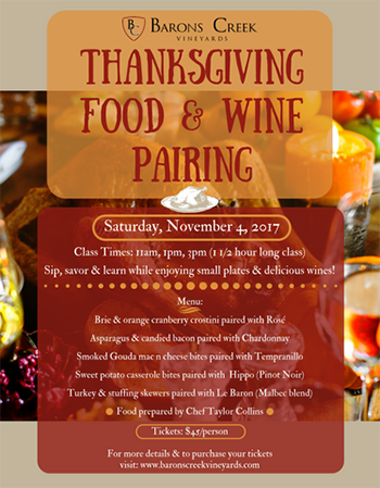 Thanksgiving Food & Wine Pairing Class (@ 11am)